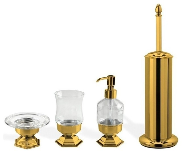 4 piece gold free standing accessory set contemporary for Gold bathroom accessories sets
