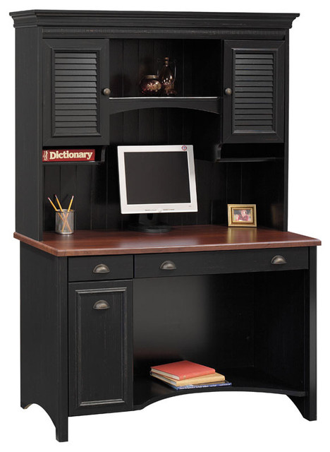Antique Black & Cherry Stained Desk w Shutter Cabinet Hutch - Traditional - Desks And Hutches ...