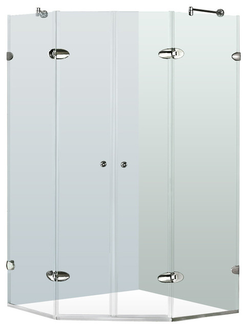 "VIGO 45-5/8""x45-5/8"" Frameless Neo-Angle 3/8"" Shower, Without Base - Modern - Shower Stalls And ..."