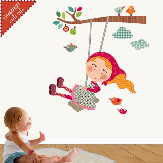 Vinilo infantil de tela ni a columpio scandinavo decorazioni da parete per bambini other - Decorazioni parete bambini ...