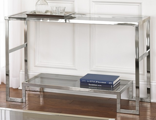 photos  Cordele Chrome and Glass Sofa Table contemporary console tables