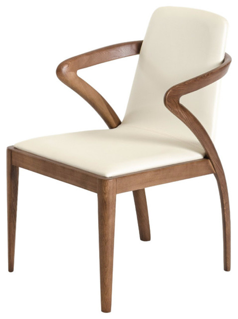 Modrest Falcon Modern Walnut And Cream Dining Chair Midcentury Chairs