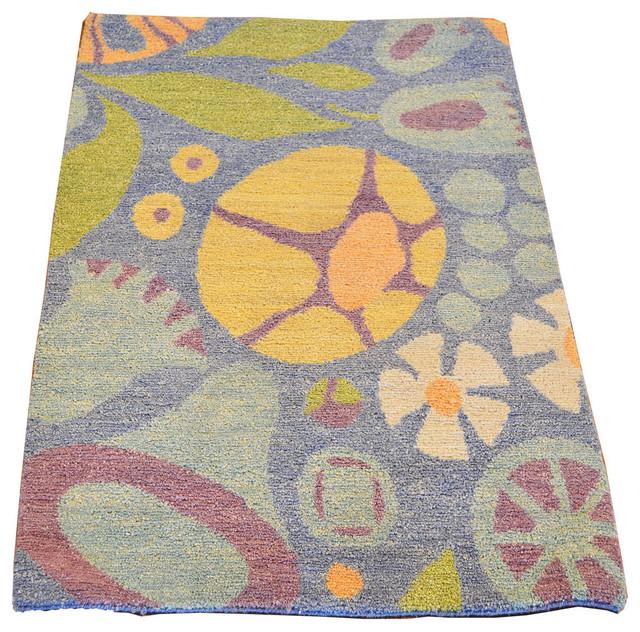Modern Nature Rug: Modern Oriental Rug Natural Dyes Hand Knotted Rug Mat