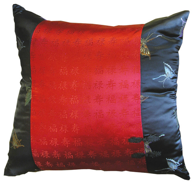 black and red silk butterfly pillow asian decorative. Black Bedroom Furniture Sets. Home Design Ideas