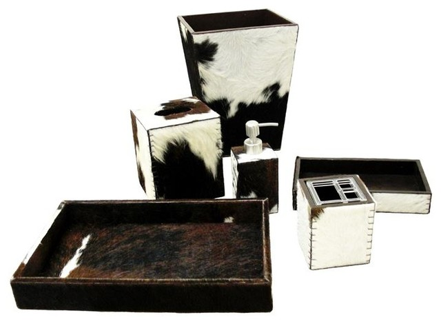 Brown White Hide Leather Vanity Tray Contemporary Bathroom Accessory Sets By Belle And June