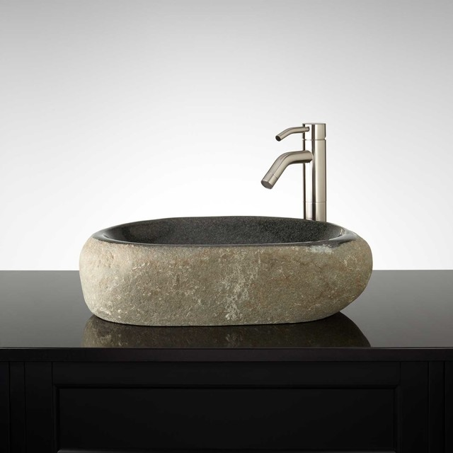 Modern Vessel Sinks : Trojani River Stone Vessel Sink - Modern - Bathroom Sinks