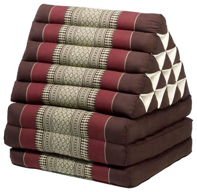 Floor Lounge Pillows : Triangle Lounger, Brown/Burgandy - Asian - Floor Pillows And Poufs - by My Zen Home, LLC