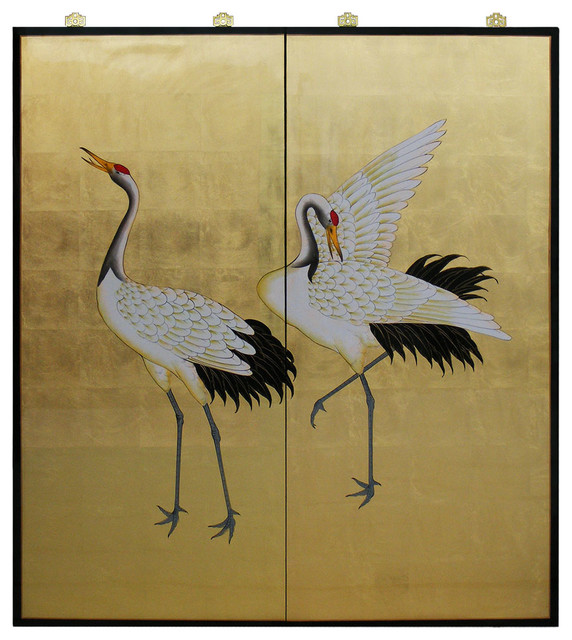 Gold Leaf Hand-Painted Cranes - Asian - Home Decor - by ...