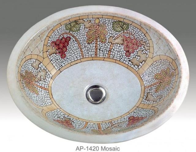 Mosaic Design Hand Painted Undermount Lavatory Sink Traditional Bathroom