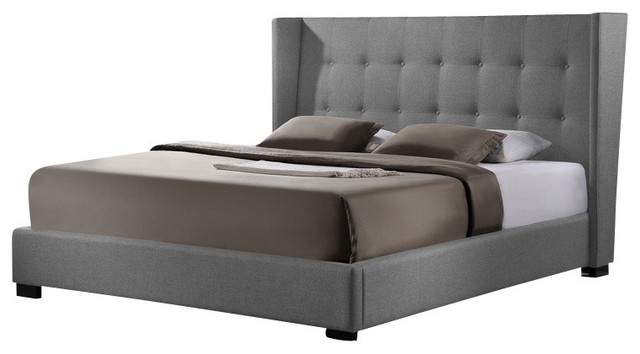 Favela Bed With Upholstered Headboard Gray Linen Queen Transitional