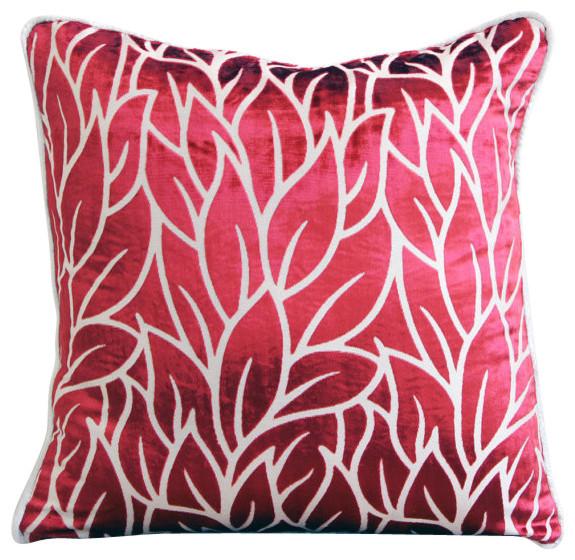 Red Design Throw Pillows : Red Burnout Velvet Leaf Design Throw Pillows Cover, Cayenne Red Leaves - Contemporary ...