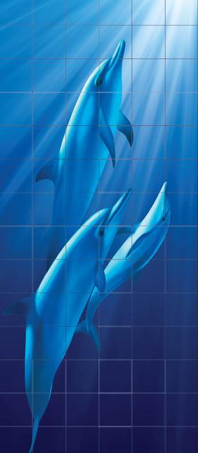 Flat dolphins shower glass tile mural 96 x 36 tile for Dolphin tile mural