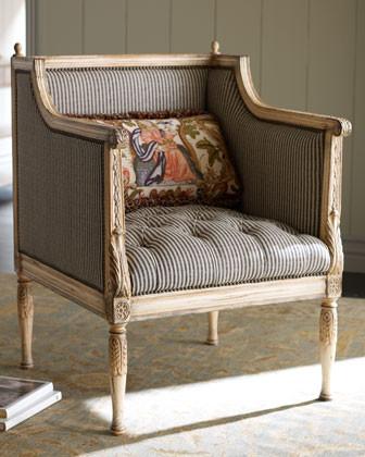 ticking stripe chair klassisch sessel von horchow. Black Bedroom Furniture Sets. Home Design Ideas