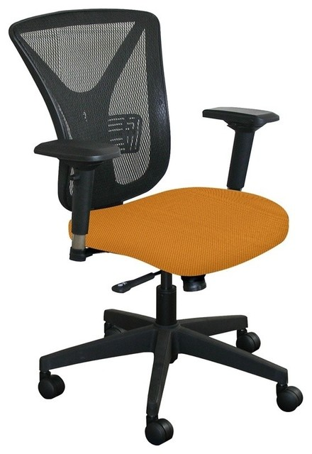Chair With Orange Fabric And Black Base Contemporary Office Chairs