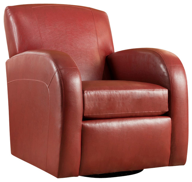 Global ac1500 swivel glider chair in red leather for Red swivel chairs for living room