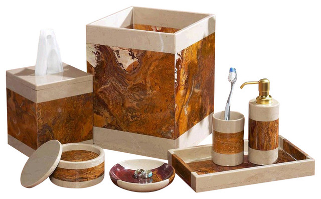 7-Piece Desert Sand And Amber Marble Bath Set