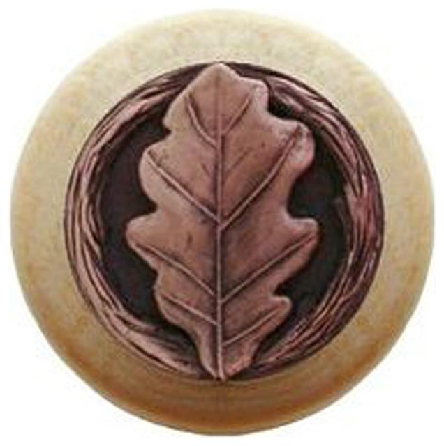 Oak Leaf Wood Knob, Antique Copper, Natural Wood Finish ...