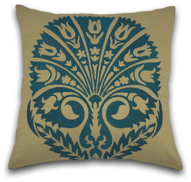Loyal Blue Cushion - Traditional - Decorative Cushions - other metro - by One Bombay Lane