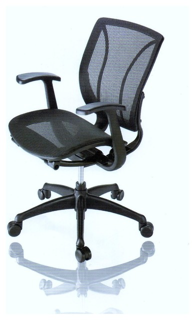 Adjustable Mesh Seat Desk Chair With Wheels Black Contemporary Office Ch