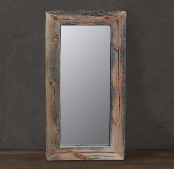 Reclaimed wood mirror floor or wall mount by j w atlas for Traditional mirror
