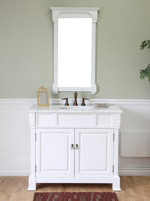 42 Helena Single Bath Vanity White Traditional Bathroom Vanities And Sink Consoles San