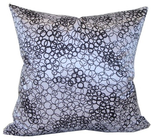 Faux Silk Square Decorative Pillow in White and Black - Modern - Decorative Pillows