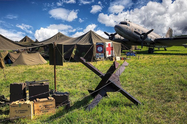 Wwii army airfield with dc 3 wallpaper wall mural self for Army wallpaper mural
