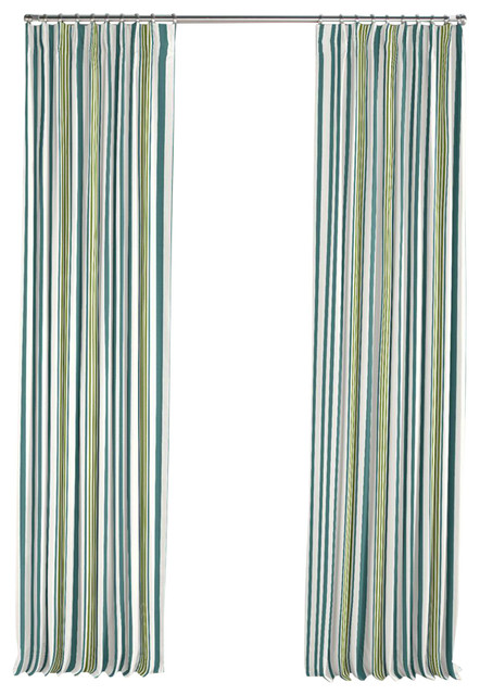 White teal and green stripe pleated curtain modern for Green modern curtains