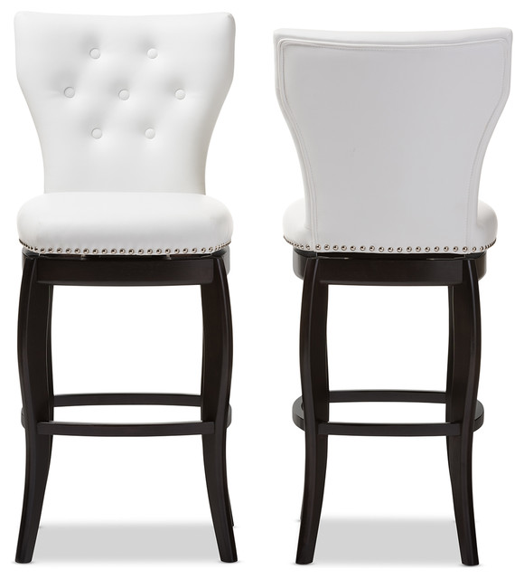 Leonice Faux Leather Button Tufted 29 Inch Swivel Bar  : transitional bar stools and counter stools from www.houzz.com size 580 x 640 jpeg 43kB