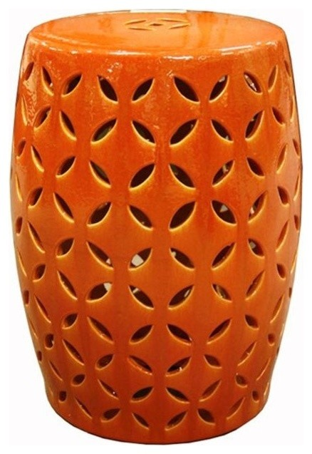 Orange Coin Carving Garden Stool Asian Accent And