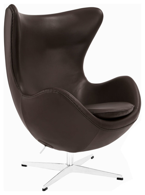 Modway glove leather lounge chair in brown contemporary for Brown leather chaise lounge