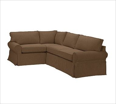 Pb basic right 3 piece small sectional slipcover for Small slipcovered sectional sofa