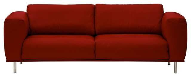 3 sitzer sofa liberty semianilinleder rot modern sofas. Black Bedroom Furniture Sets. Home Design Ideas