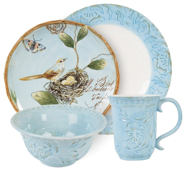 Fitz And Floyd Toulouse 4 Piece Dinnerware Set Blue