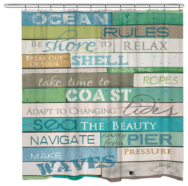 Ocean Rules Shower Curtain Beach Style Curtains By ...