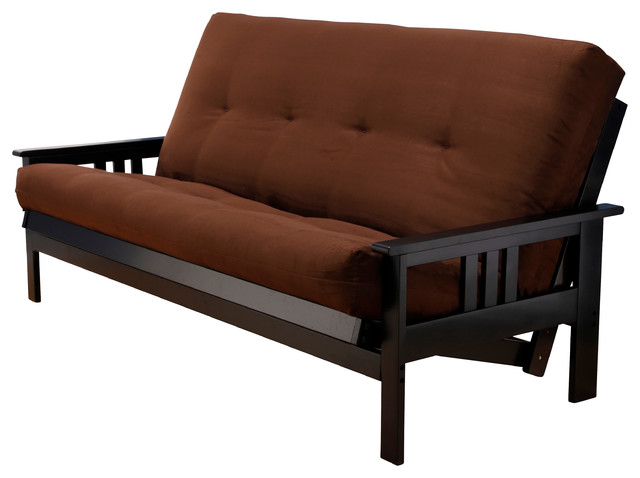woodbury full size futon sofa with suede innerspring