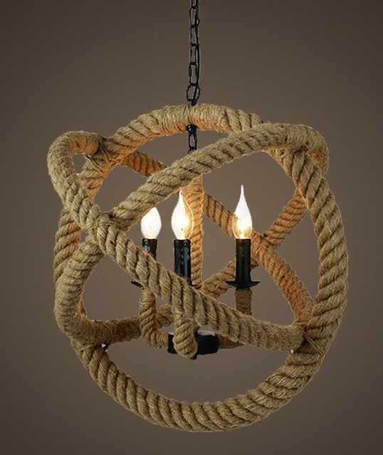 North Country Hemp Rope Pendant Lighting Contemporary
