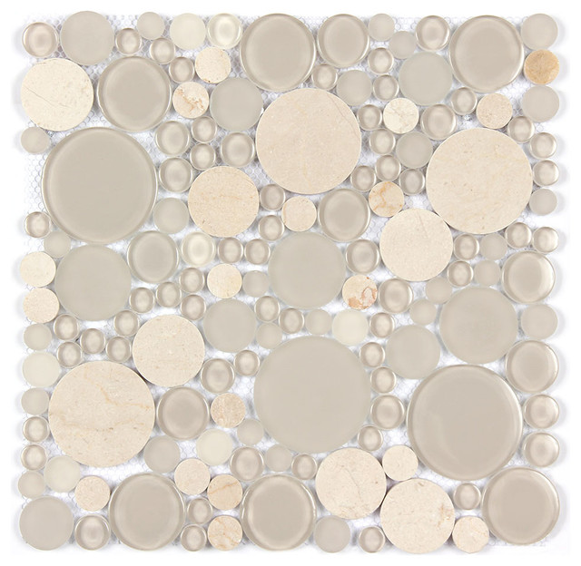 Marble And Glass Bubble Circle Mosaic Modern Tile