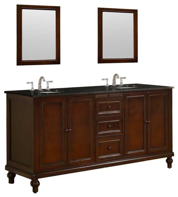 classic 70 vanity in dark brown with granite vanity top