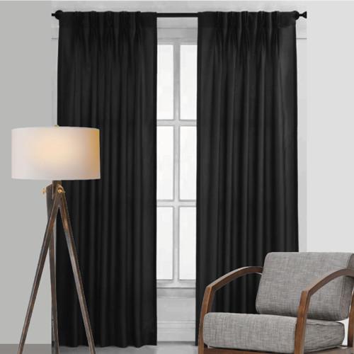 Bond Room Darkening Soft Drape Blockout Pinch Pleat Curtains 4 Widths Black Contemporary