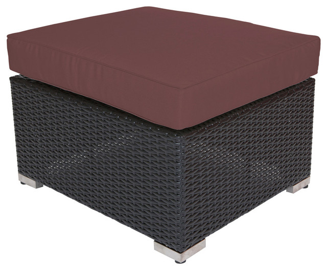 Ohana Black Small Ottoman, Sunbrella Bay Brown