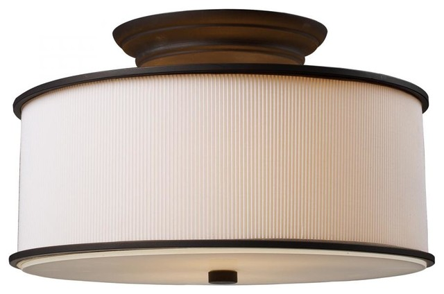 two light oiled bronze drum shade semi flush mount. Black Bedroom Furniture Sets. Home Design Ideas