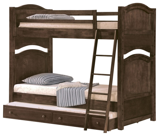 ... Aris Bunk Bed, Brown Cherry, Twin Over Full traditional-bunk-beds