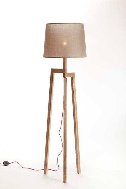 Modern Wood Tripod Floor Lamp Artistic Fabric Shade