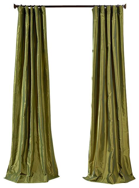 Stripe sheer curtain traditional curtains by half price drapes - Fern Faux Silk Taffeta Curtain Single Panel Traditional