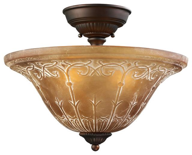 Traditional Bathroom Barclay Flush Fitting Glass Ceiling: Restoration 3-Light Aged Bronze Semi-Flush