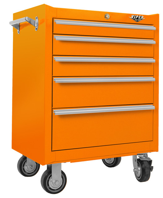 """26"""" 5-Drawer 18G Steel Rolling Cabinet, Orange - Industrial - Garage And Tool Storage - by Viper ..."""