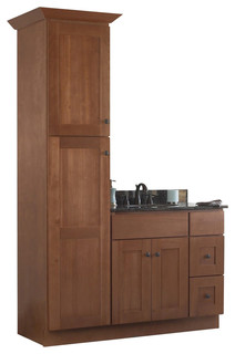 "JSI Cabinetry Sturbridge 36"" Bathroom Vanity Base and 18"" w/ Linen Closet, Left - Contemporary ..."