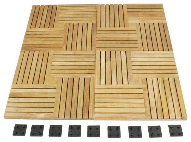 Westminster Teak Waterproof Floor Tiles Modern Deck