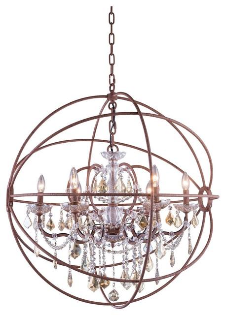 Foucaults Orb Crystal Chandelier 6 Lights Medium Size Rustic Intent